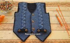 burgulu-cepli-yeni-cepken-cocuk-yelek Baby Knitting Patterns, Crochet, Sweaters, Fashion, Moda, Fashion Styles, Ganchillo, Sweater, Crocheting