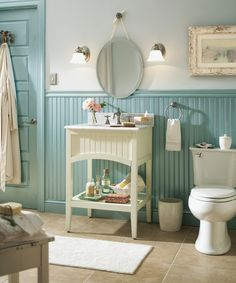 Charming and chic. Create a one-of-a-kind bathroom with cozy feel using beadboard, brushed nickel accents and a soothing color palette..