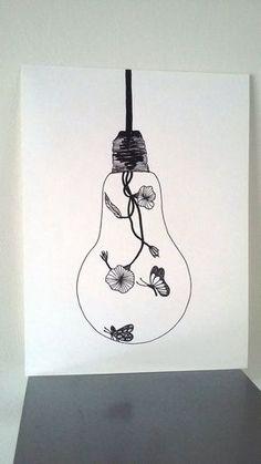 "Poster Illustration Black and white light bulb ""Softness of Interior"": Drawings by stefe-reve-en-feutrine Source by jadeollitrault Light Bulb Drawing, Light Bulb Art, Pencil Art, Easy Drawings, Doodle Art, Diy Art, Art Inspo, Art Sketches, Art Projects"