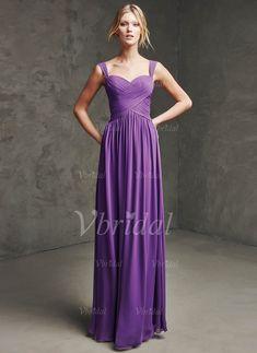 Abiballkleider - $112.56 - A-Linie/Princess-Linie Herzausschnitt Bodenlang Chiffon Abiballkleid mit Rüschen (0185059081)
