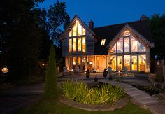 The Woodhouse front view at night - 2009 The Woodhouse, Oak Framed Buildings, Garden Design, House Design, Energy Efficient Homes, Construction, Cabin, House Styles, Fountain