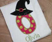 pretty fun witch hat initial shirts-personalized with your childs name, perfect for Halloween, fall carnivals, and dress up