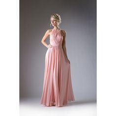 Peach Chiffon & Lace Halter Top Special Occasion Dress ($116) ❤ liked on Polyvore featuring dresses, nude, plus size formal cocktail dresses, cocktail prom dress, plus size prom dresses, long prom dresses and cocktail dresses
