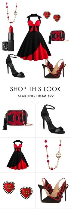 """Black 'n' Red"" by melissarodrigues23 ❤ liked on Polyvore featuring Chanel, Alexander Wang, Charlotte Olympia and NARS Cosmetics"