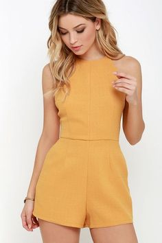 Flight to Florianopolis Golden Yellow Romper Flight to Florianopolis Golden Yellow Romper - Jumpsuits and Romper Cute Casual Outfits, Casual Dresses, Summer Outfits, Rompers Women, Jumpsuits For Women, Classy Jumpsuits For Weddings, African Print Jumpsuit, Looks Chic, Women's Fashion Dresses
