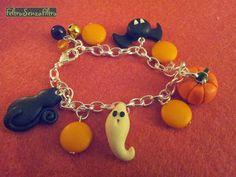 #Halloween Bracelet with #ghost #cat #pumpkin #bat - Braccialetto in #fimo con #zucca #fantasma #pipistrello #gatto