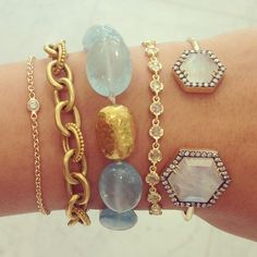 Pops of color for the #saturday #stack. #sotd #jewelry #diamonds #bracelet #bangle #moonstone #aqua #gold #shapes #link #color #love #designer #instajewels #instagems #accessories #denisebetesh #fashion #losangeles #la #singlestonemissionstreet @Irene Neuwirth @JEMMA WYNNE @heathermoorejewelry @GURHANJewelry