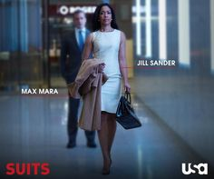 Jessica Pearson Jil Sander dress with Max Mara coat High Class Fashion, Work Fashion, Looks Style, My Style, Classic Style, Summer Work Wardrobe, Jessica Pearson, Gina Torres, Suits Usa