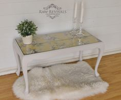 Antique queen anne coffee table . Painted grey with wallpaper top. www.rawrevivals.com.au