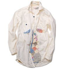 Kapital - Dobby OX Shirt Damaged - White