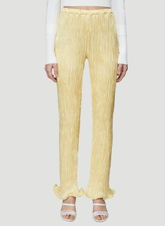 Sies Marjan Karolina Crinkled Satin Ruffle Pant in Yellow size US USD Ruffle Pants, Pleated Pants, Straight Leg Pants, Wide Leg Pants, Camouflage Cargo Pants, Tie Dye Jeans, Tuxedo Pants, How To Hem Pants, Drawstring Pants