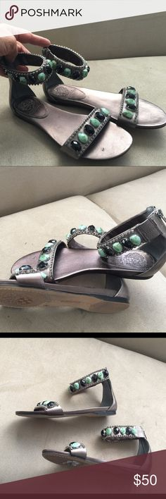 Vince Camuto Leather Sandal, size 6.5 Used but perfect condition, very highly elegant flat Sandal by Vince Camuto, black and green stone with small diamond around it, Leather Sandal, man made materiel. Zipper in back, Grey color. Vince Camuto Shoes Sandals