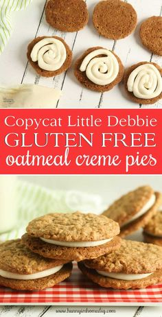 This gluten free oatmeal creme pie recipe is a delicious alternative to the classic Little Betty snack. You won& believe how good these gluten free oatmeal creme pies are -- they taste even better than the original! Best Gluten Free Cookies, Cookies Sans Gluten, Dessert Sans Gluten, Gluten Free Deserts, Gluten Free Cookie Recipes, Gluten Free Sweets, Gluten Free Baking, Gluten Free Meals, Foods With Gluten