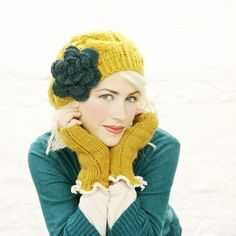 handmade mustard yellow teal flower hat by MojoSpaStyle