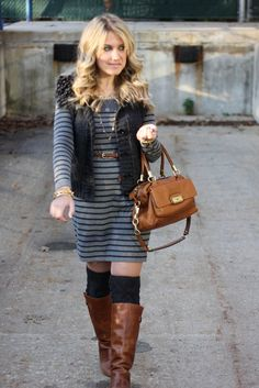 sweater dress  stripes  faux fur vest casual outfit idea....click through to get the details!