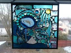 Lost in Turquoise and loving it No 2 Stained Glass Abstract Art Mixed Media Panel Stained Glass Designs, Stained Glass Panels, Stained Glass Projects, Stained Glass Patterns, Stained Glass Art, Tile Art, Mosaic Art, Mosaic Glass, Window Pane Art