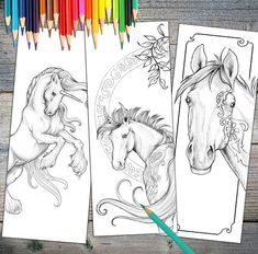 "Instant Download Bookmarks Coloring Horse Designs printable. Print These Amazing Horse Drawings And Create Beautiful Bookmarks! Perfect For The Holiday Season! You Also Get Free Download Of The Thumbnails Of The Whole Book ""Horses : Mysteries and Wonders"" https://www.etsy.com/listing/551430022/"