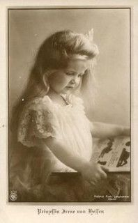 Princesse Irène de Hesse (1866-1953) fille du grand-duc Louis IV et de la princesse Alice (fille de Victoria). Mariée en 1888 au prince Henri de Prusse