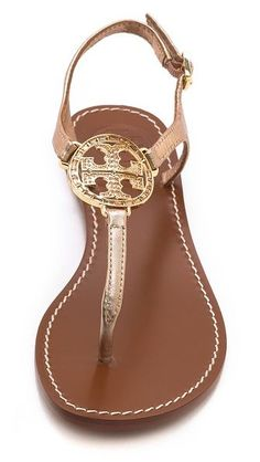 "i have this sandal in nude (not gold strap) and it goes with everything. Just enough ""bling""Beautiful #ToryBurch sandals http://rstyle.me/n/i9e4znyg6"