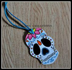 Saddle charm- custom painted Sugar Skull