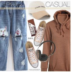 Casual by pokadoll on Polyvore featuring Converse, Frends, Hershey's, polyvoreeditorial, polyvorefashion, polyvoreset and zaful