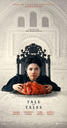 Directed by Matteo Garrone.  With Salma Hayek, Vincent Cassel, Toby Jones, John C. Reilly. From the bitter quest of the Queen of Longtrellis, to two mysterious sisters who provoke the passion of a king, to the King of Highhills obsessed with a giant Flea, these tales are inspired by the fairytales by Giambattista Basile.
