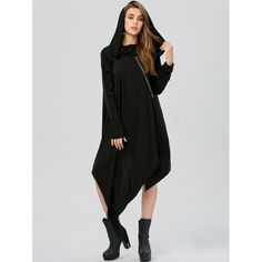 24.32$  Watch here - http://di8oc.justgood.pw/go.php?t=205534203 - Asymmetric Long Sleeve Tunic Hooded Dress
