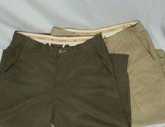 TOMMY BAHAMA Lot of 2 Mens 33x32 Silk Cotton Khaki Pants Beige Dark Green Blend #TommyBahama #KhakisChinos