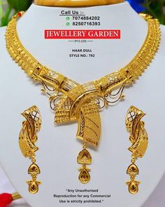 Gold Jewellery Design, Gold Jewelry, Gold Necklaces, Light Weight Gold Jewellery, Gold Work, Jewelry Patterns, Indian Jewelry, Bridal Jewelry, Jewelry Sets