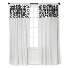 Threshold™ Scroll Embroidery Curtain Panel Sour Cream / Radiant Gray