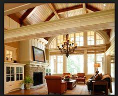 Living room vault, eyebrow window and chandelier