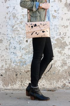 Flashback Fashion Fridays Link Up - Jeans and a Teacup Crossbody Clutch, Leather Crossbody, French Girl Style, Green Coat, Ethical Fashion, Black Booties, Maternity Fashion, Teacup, Minimalist Fashion