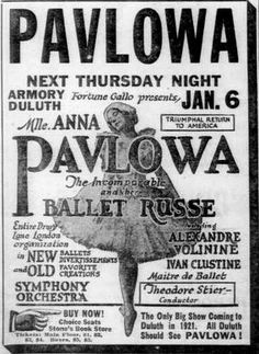 Newspaper ad for Anna Pavlova and the Ballet Russe, on page 11 of the January 1921 Duluth Herald. Ballet Posters, Ballet Russe, Anna Pavlova, Overlays Picsart, Degas, January 1, Historical Photos, Genealogy, Newspaper