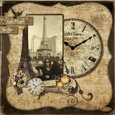 Digital: Eiffel Tower Las Vegas also for my album to mention time of baby birth Heritage Scrapbook Pages, Travel Scrapbook Pages, Vacation Scrapbook, Wedding Scrapbook, Scrapbook Cards, Scrapbooking Vintage, Digital Scrapbooking, Scrapbook Sketches, Scrapbook Page Layouts