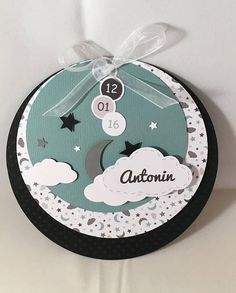 Round black and verdigris with clouds birth announcements Origami Santa Claus, Baby Boy Scrapbook, Baby Cards, Scrapbooks, Birthday Invitations, Paper Flowers, Relief, Stampin Up, Diy And Crafts
