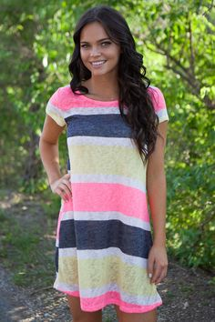 Magnolia Boutique Indianapolis - Short Sleeve Striped Dress - Multi, $29.00 (http://www.indiefashionboutique.com/short-sleeve-striped-dress-multi/)
