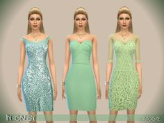 The Sims Resource: InGreen dresses by Paogae • Sims 4 Downloads