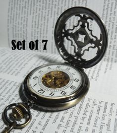 Set of 7 Pocket Watches with Chains Celtic by PocketwatchPurveyor $280.00