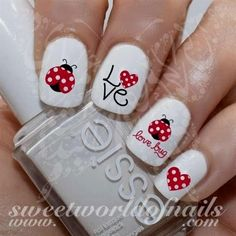 Valentine's Day Nail Art Ladybug Ladybird Love bug Red Hearts Nail Water Decals 20 water decals on a clear water transfer which can be applied over any color v day nails art Love Nails, How To Do Nails, Fun Nails, French Nails, Holiday Nails, Christmas Nails, Ladybug Nails, Valentine Nail Art, Nagel Hacks