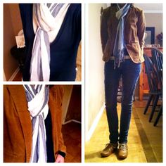 Dark blue cardigan, blue and white striped scarf, skinny jeans, Oxford shoes, brown corduroy blazer