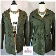 """HOT TREND‼️Olive Army Hooded Utility Jacket ‼️TREND ALERT‼️ Olive Army Hooded Utility Jacket HOT ITEM FOR SPRING 2016! Olive green lightweight cotton Bronze snap button & zipper front closure, waist can be cinched if you wish Front snap pockets, zipper breast pocket Great layering piece Size S Bust 18"""" across, 25"""" long ‼️PRICE FIRM UNLESS BUNDLED‼️ Create a bundle for 15% off! Thanks for looking✌️❌NO PAYPAL❌NO TRADES❌ Hourglass Lady Jackets & Coats Utility Jackets"""