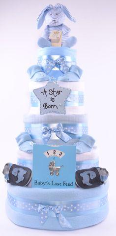 5 Tier Boys Nappy Cakes, 5 Tier Baby Nappy Cake for Boys in Blue - £84.99