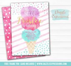 Printable Watercolor Ice Cream Cone Birthday Invitation | Sprinkles | Sundae | Modern Ice Cream Social Event | Pink, Mint and Gold | Food Labels | Favor Tags | Signs | Banner | Party Package Decor Available!