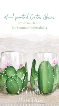 These hand painted Cactus wine glasses add so much fun to your summer Entertaining. They are available in four different Cactus designs so each of your guests can have their very own.