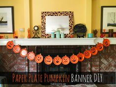 Paper Plate Pumpkin Easy Party Banner DIY   Club Chica Circle - where crafty is contagious