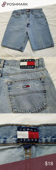 """Vintage Tommy Hilfiger Denim Shorts Mens 36 Good Used Condition Measurements are taken laid flat: Inseam - 10"""" Waist - 17""""  Great Vintage 90's Style Tommy Hilfiger Shorts Jean Shorts"""