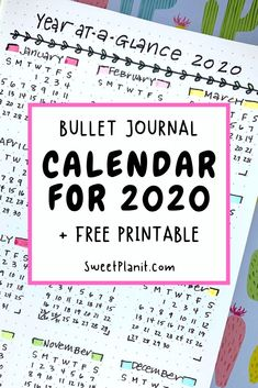 Get Ready for the New Year with a Bullet Journal Calendar 2020 + Free Printable + Important Holidays Making A Bullet Journal, January Bullet Journal, Bullet Journal Hacks, Bullet Journal Spread, Bullet Journal Layout, Bullet Journal Ideas Pages, Bullet Journals, Bullet Journal Free Printables, Journal Template