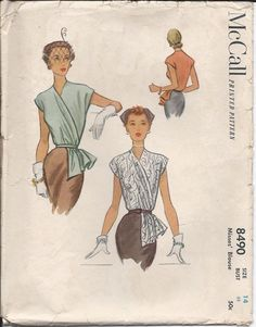 Here is a vintage sewing pattern for making a Misses draped blouse with a v-neckline and cap sleeves. It is McCalls Pattern No. 8490; copyright 1951;
