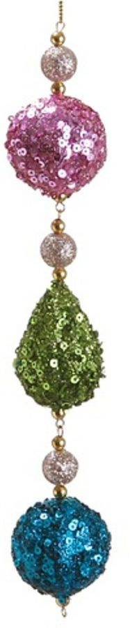 Asstd National Brand 9 Christmas Whimsy Pink Green and Blue Sequin Ball and Drop Dangle Ornament