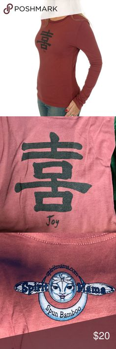 """JOY Long Sleeve T-Shirt Bamboo Organic cotton NEW! ***NOTE- They run SMALL and fitted so order up 1 to 2 sizes ***  Maroon """"JOY"""" print t-shirt, Japanese Kanji calligraphy print You will be amazed at the softness and comfort of bamboo clothing. The T-shirts are made of 70% bamboo and 30% certified organic cotton. The colors, look, and feel of bamboo clothing are so beautiful. These bamboo shirts are made with organic cotton, and low impact dyes. Bamboo is easy to grow and biodegradable as…"""